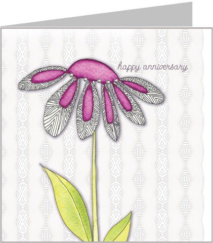 Purple Gerbera Anniversary Card by Valerie Valerie