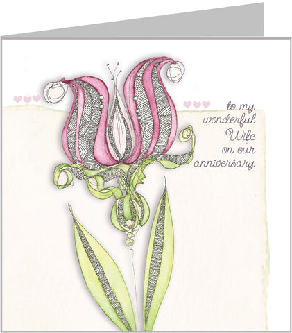 Pink Lotus - Wife Anniversary Card by Valerie Valerie