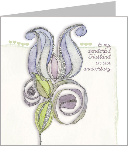 Blue Lotus Husband Anniversary Card by Valerie Valerie