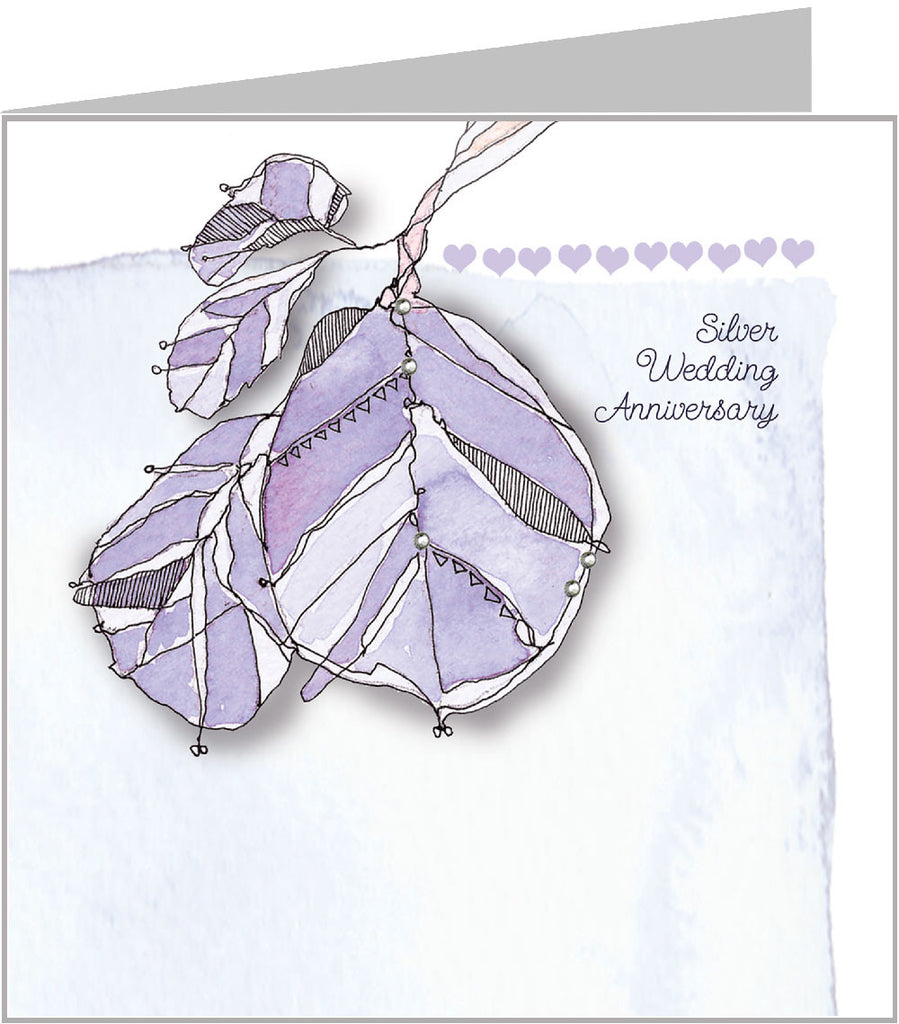 Blue Leaves - Silver Anniversary Card by Valerie Valerie