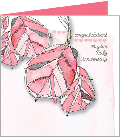 Red Leaves, Ruby Anniversary Card by Valerie Valerie