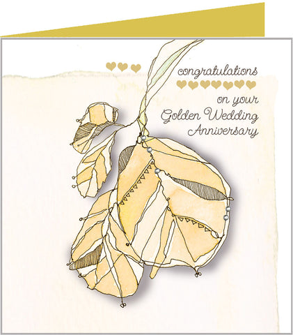 Gold Leaves, Golden Anniversary Card by Valerie Valerie