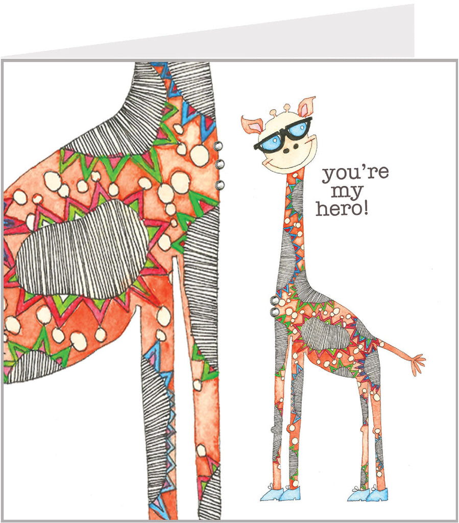 Orange giraffes greetings cards by Valerie Valerie