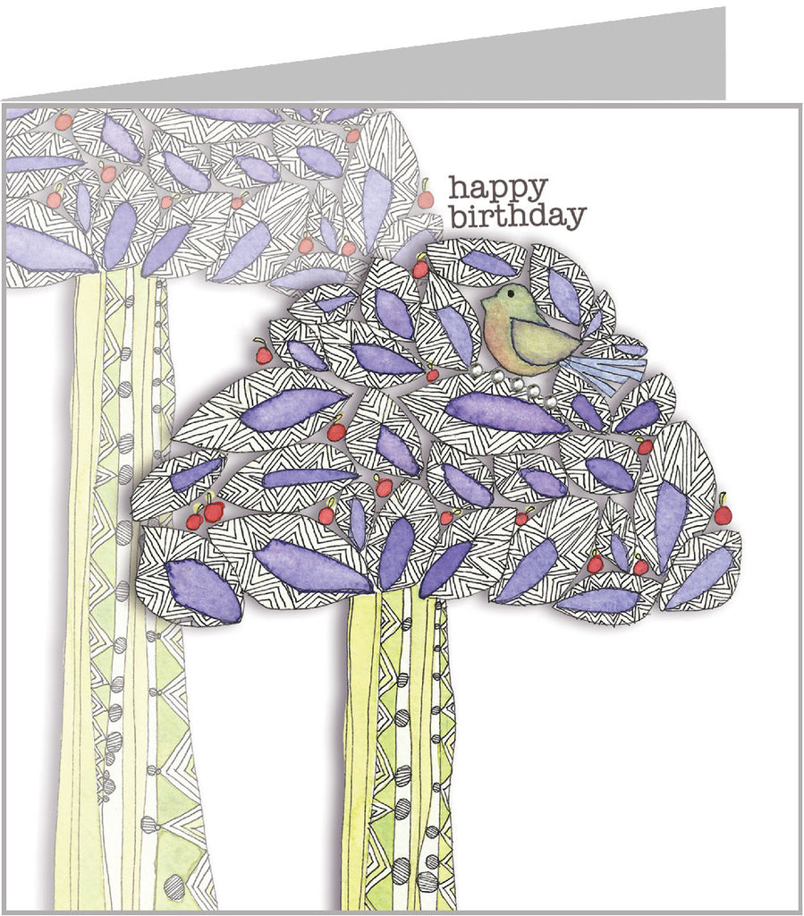 Watercolour Birthday Card Bird in jazzy tree valerie valerie