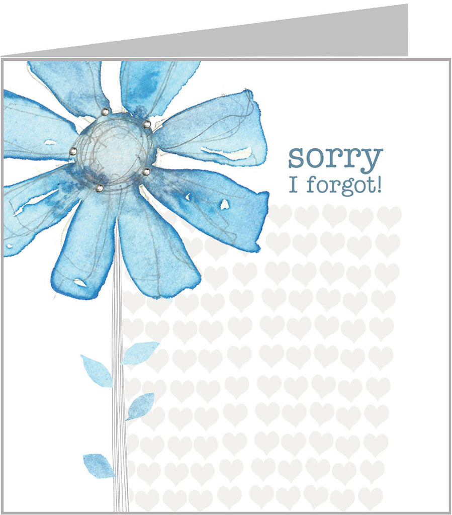Watercolour card - Sorry I forgot, Blue Daisies (pack 6) WC-035