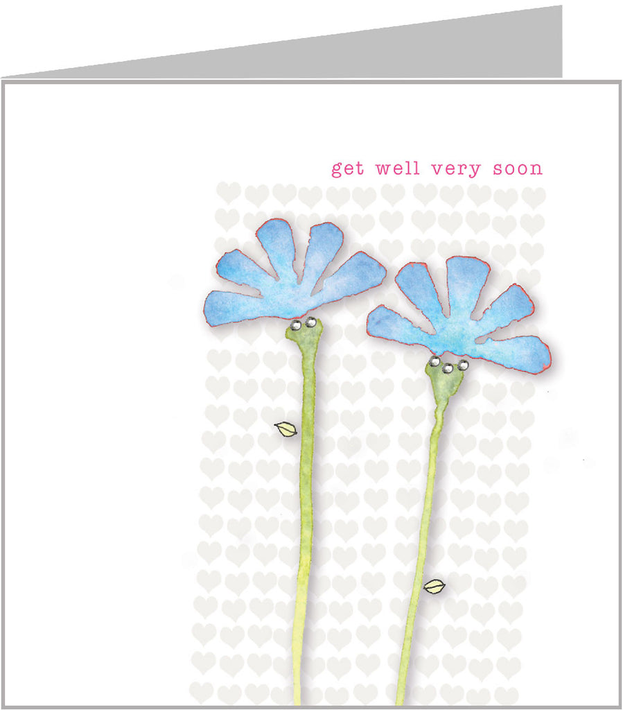 Watercolour card - Get Well, Blue Daisies (pack 6) WC-037