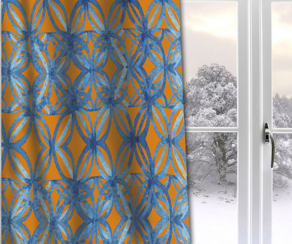 blue and gold curtains
