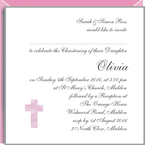 Personalised christening invitations with pink cross