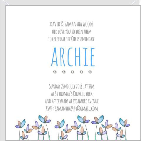 personalised christening invitations
