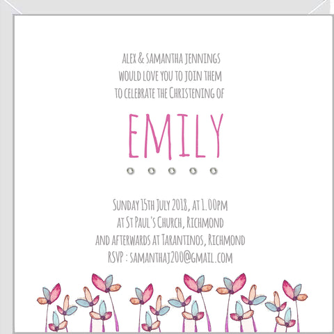 christening invitations with crystals