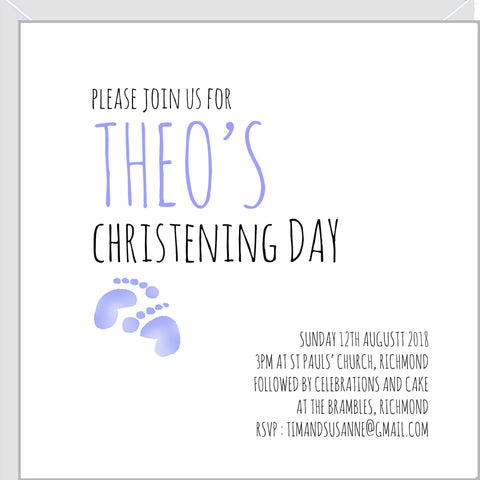 blue christening invitations