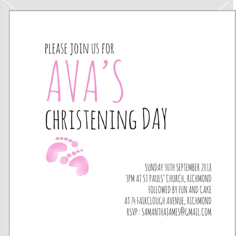 Personalised christening invitations with pink baby footprints.
