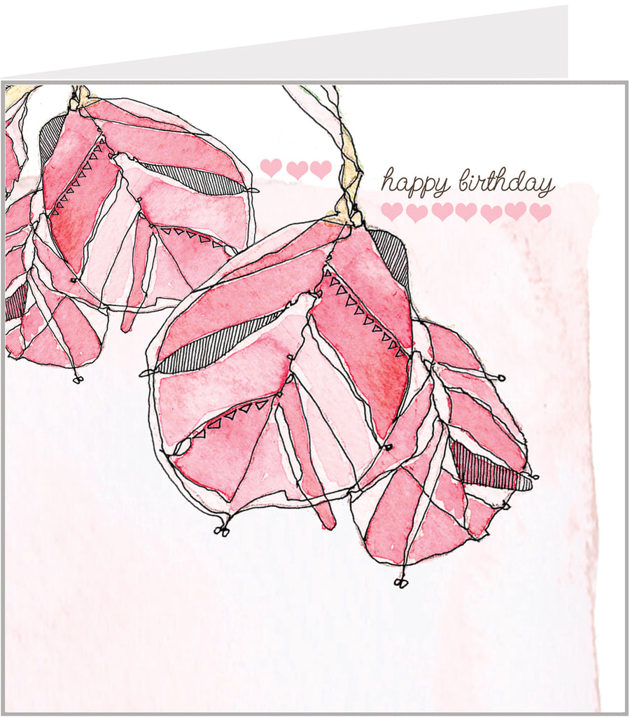 Pink leaves birthday card, watercolour by valerie carr