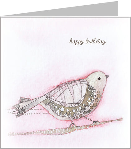 Pink bird birthday card, watercolour by valerie carr