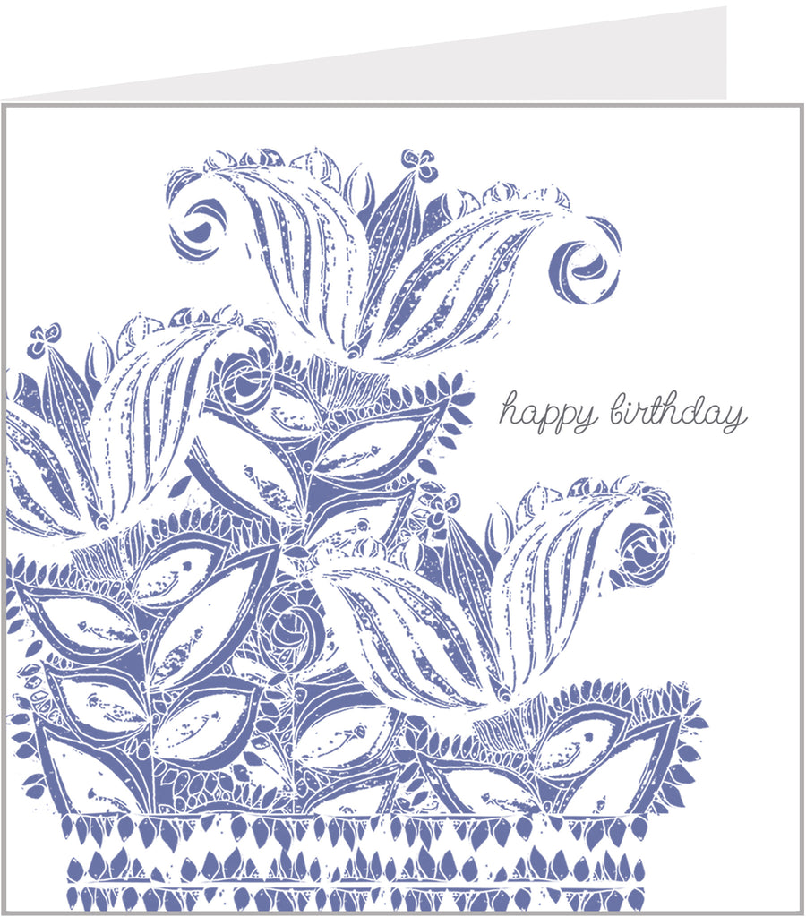 Blue lilies birthday card, watercolour by valerie carr