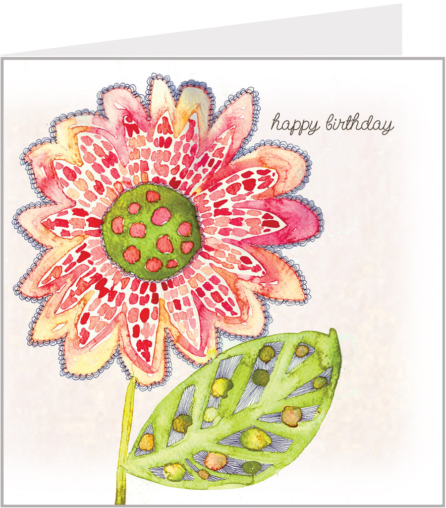 Watercolour card - Happy birthday, Sunflower by Valerie Valerie
