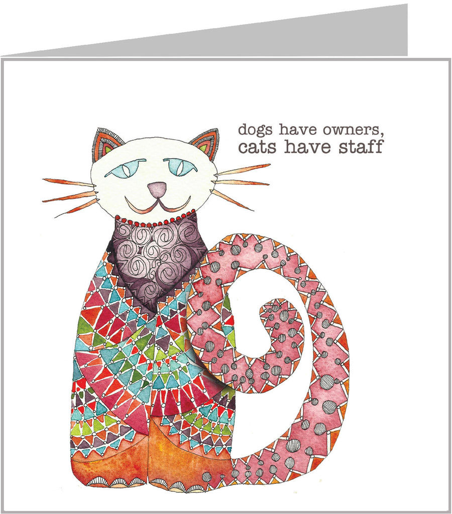 cool cat greetings card with cat from a watercolour by valerie carr