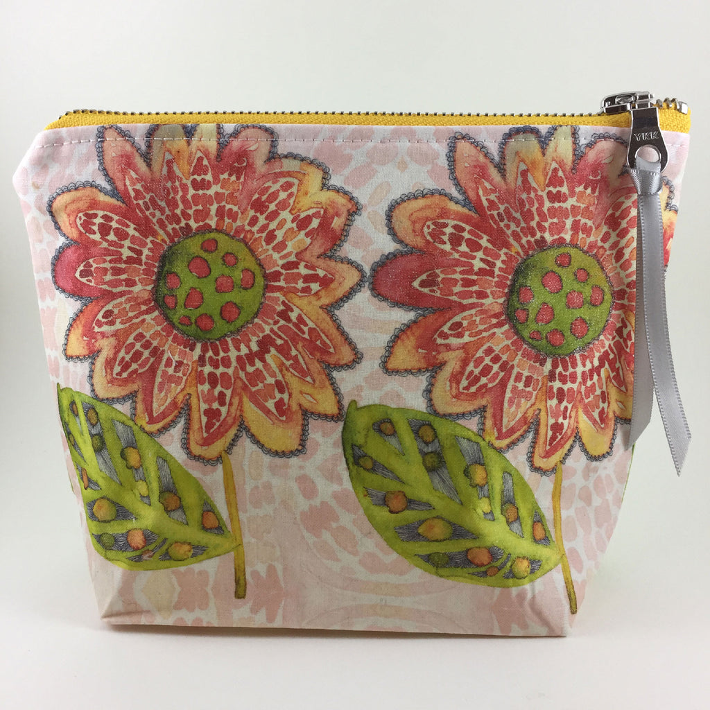 Handmade Zipper Travel Bag in Red Sunflowers Design