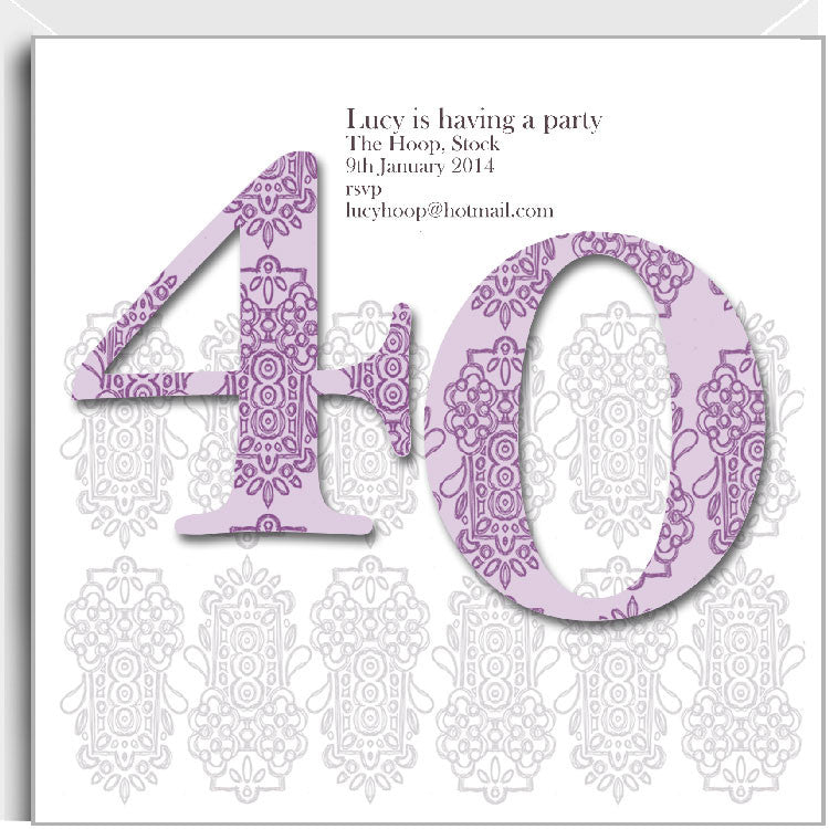 Alhambra 40th party invitations