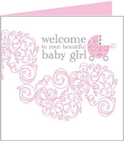 Baby Rococo card, pink pram 43-001