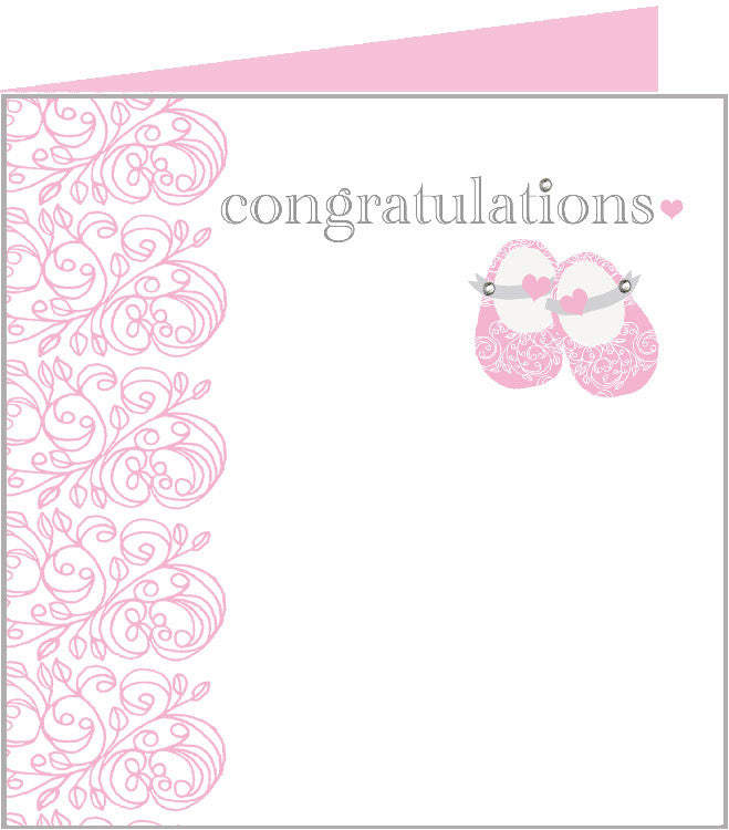 Baby Rococo card, pink baby shoes 43-003