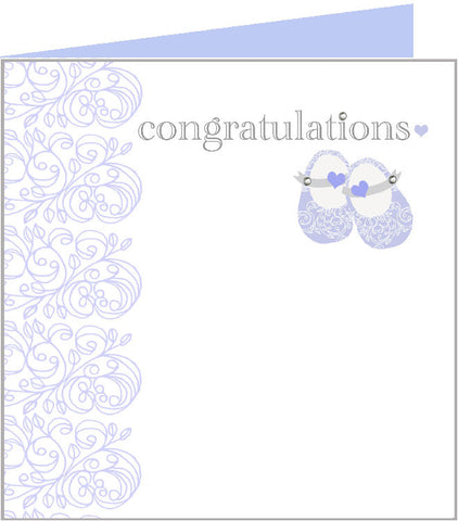 Baby rococo blue baby shoes card 43-004