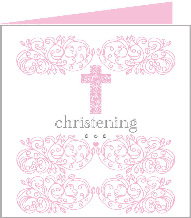 Baby rococo pink cross, christening card 43-009