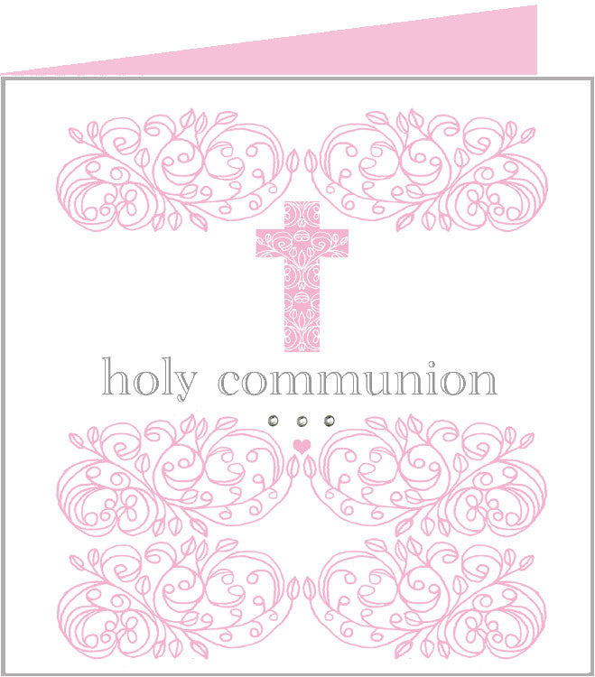 Baby rococo pink cross, holy communion card 43-013