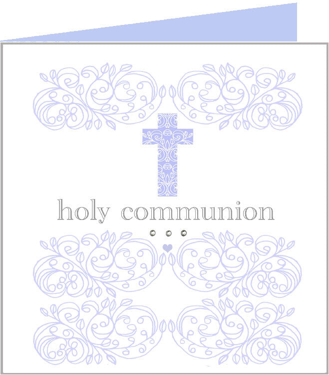 Baby rococo blue cross, holy communion card 43-014