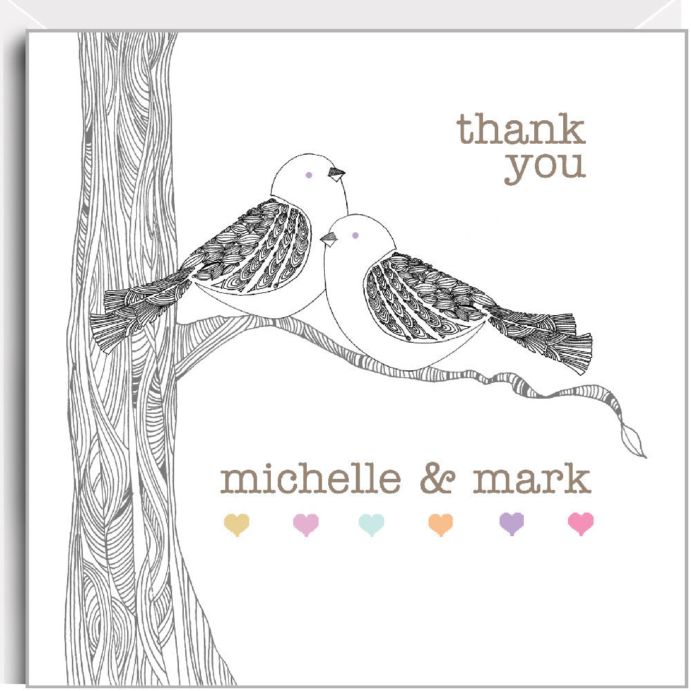 Birds on a branch - Personalised folded thank you cards 100x100mm