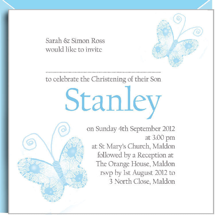 Blue butterflies christening invitations