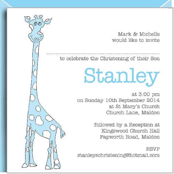 blue giraffe christening invitations