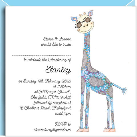 Blue Giraffe personalised christening invitations by valerie valerie