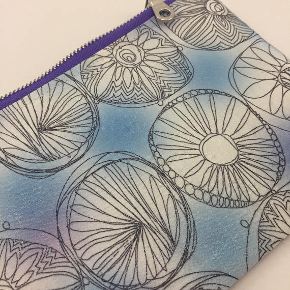 blue and grey pencil case