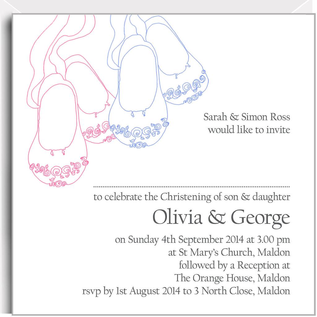 Pink & blue baby shoes christening invitations for twin boy & girl