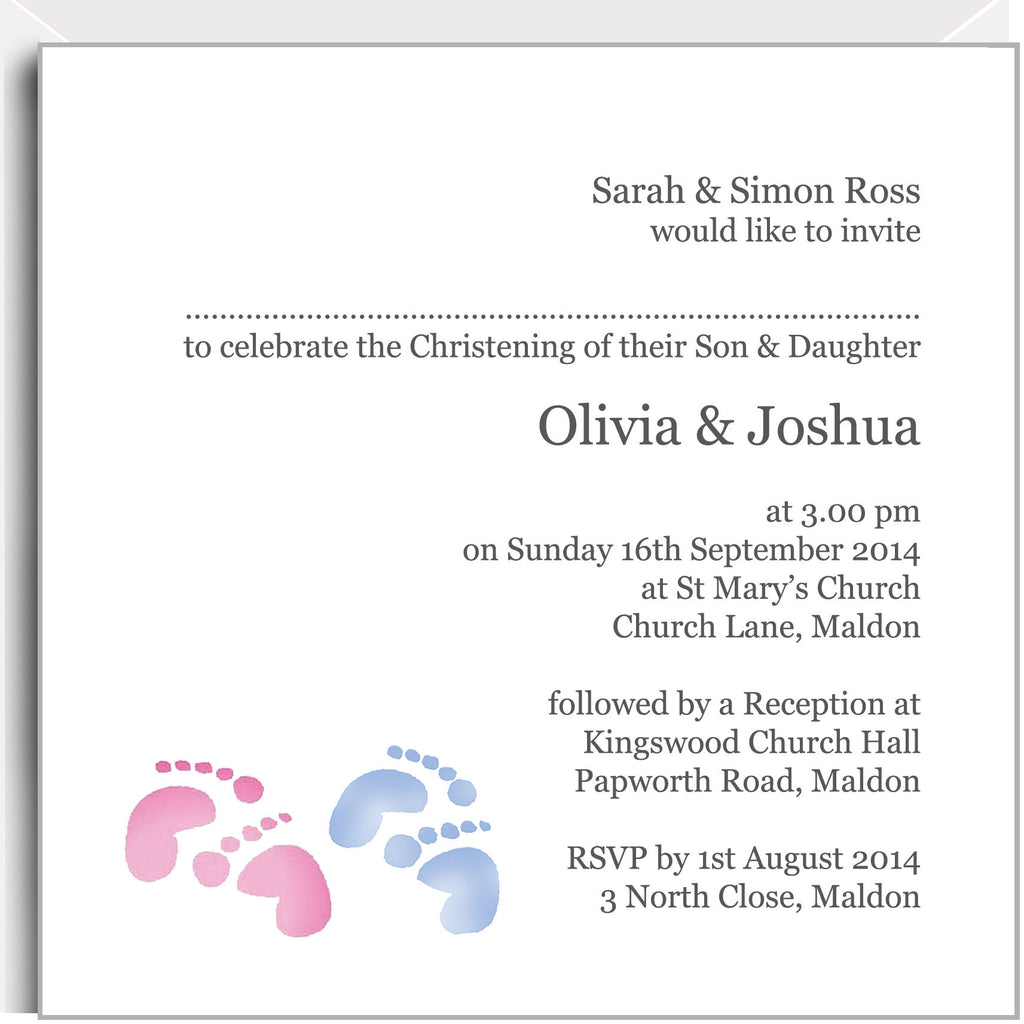Pink and blue footprints christening invitations for twin girl and boy
