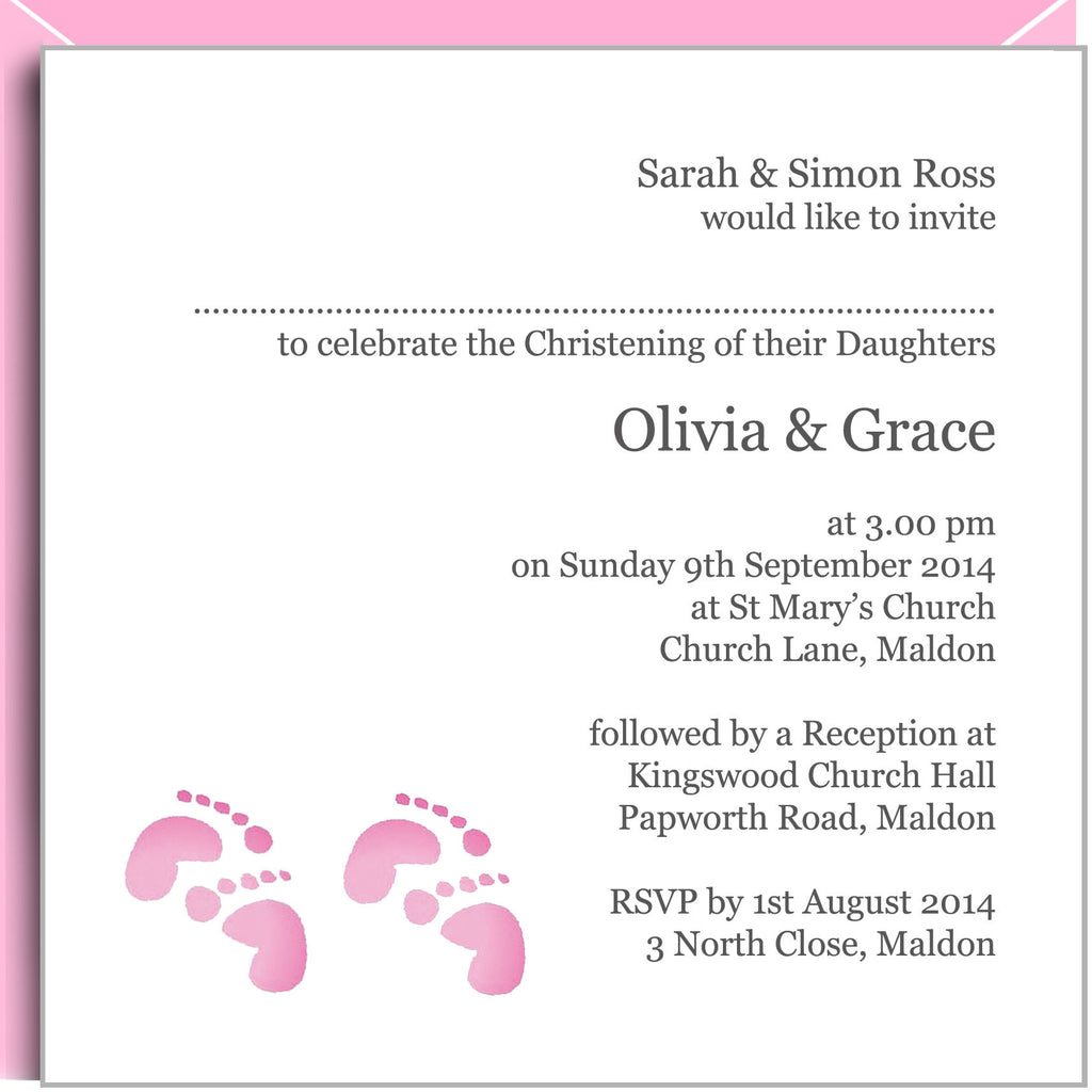 Pink footprints christening invitations for twin girls