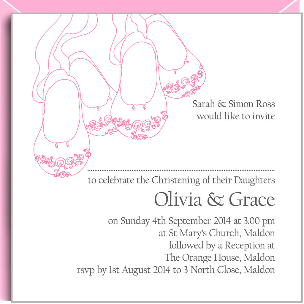 Pink baby shoes christening invitations for twin girls