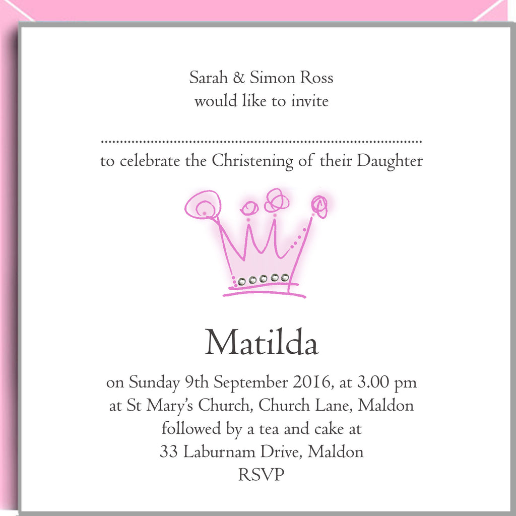 Princess Christening Invitations with Pink Crown and Crystals