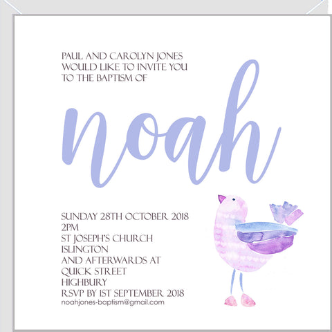 Personalised christening invitations with blue bird.