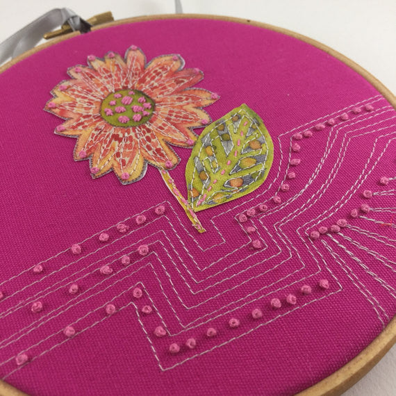 Sunflower Hoop Art, Floral Embroidery, Hoop embroidery, Pretty floral gift