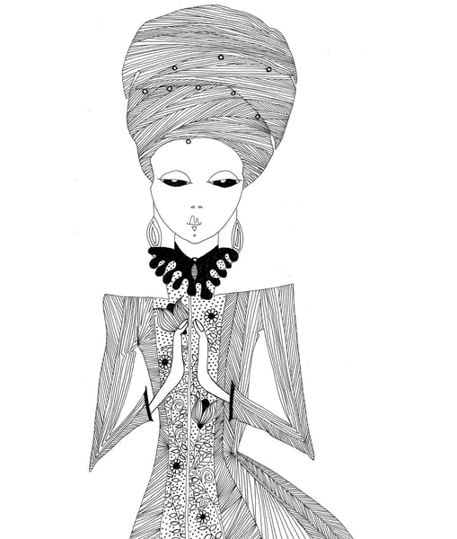 black and whtie illustration lady