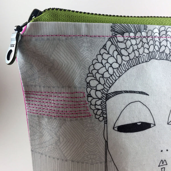 Black and white zipper pouch