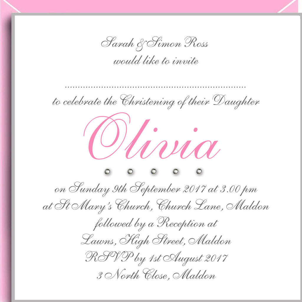 crystals christening invitations for girls