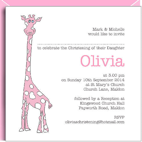 pink giraffe invitations