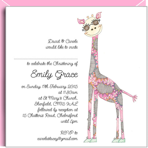 Pink Giraffe Christening invitations by Valerie Valerie Stationery