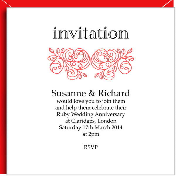 Personalised Rococo Ruby Wedding Invitations by Valerie Valerie