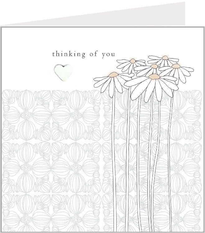sympathy hand made greetings card, white daisies 44-006