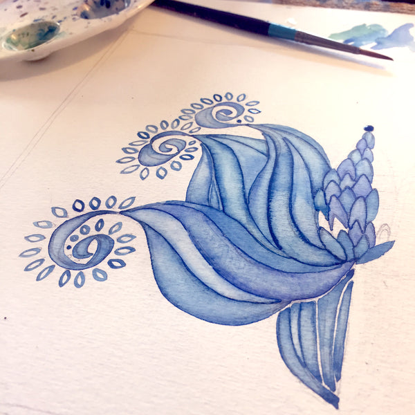 watercolour of blue flower