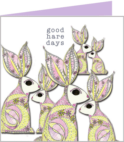 hares greetings card - have a good hare day